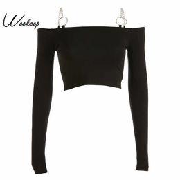 Cropped Tees Australia - Weekeep Women Black Long Sleeve Knitted Slash Neck Cropped Tshirt Iron Chain Bodycon Streetwear Tee Shirt Femme Crop Top Q190516
