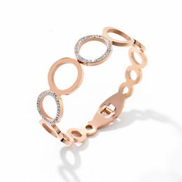 $enCountryForm.capitalKeyWord Australia - Hot New Brand Titanium Steel Bracelets for Women Fashon 8-Shaped Rhinestone Bangle Luxury Jewelry Best Gift for Girl