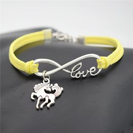 $enCountryForm.capitalKeyWord Australia - New Fashion Yellow Leather Suede Cuff Bracelets & Bangles Infinity Love Unicorn Dancing Horse Wristband Vintage Lucky Handmade Jewelry Gifts