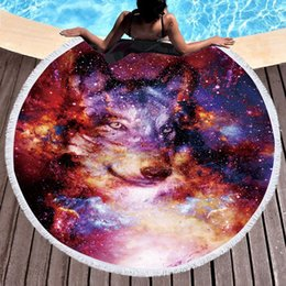 circle beach towels 2019 - 1 Piece Wolf Round Beach Towel Adults With Tassel Circle Blanket 3d Print Microfiber 150cm Blanket Yoga Mat Tapestry dis