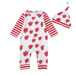2Pcs Baby Autumnborn Girls Strawberry Rompers Set Long Sleeve Patchwork  Bodysuit Hats Set 75db8af5fb2e