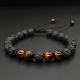 Discount oil bracelets - Men Women 8mm Lava Rock Aromatherapy Anxiety Essential Oil Diffuser Bracelet Braided Rope Natural Stone Yoga Beads Brace