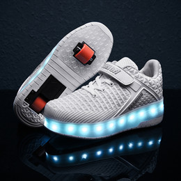 Discount wheel boys shoes - 2020 New 29-40 USB Charging Children Sneakers With 2 Wheels Girls Boys Led Shoes Kids Sneakers With Wheels Roller Skate