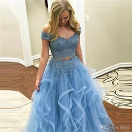 pink quinceanera dresses plus size short UK - Light BlueTwo Pieces Robe De Soiree Evening Dress Long Lace Top Tulle Skirt Party Gowns Evening Gowns Abendkleider Vestidos Noche Fiesta