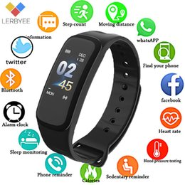 $enCountryForm.capitalKeyWord Australia - Newly C1Plus Smart Bracelet Color Screen Blood Pressure Fitness Tracker Heart Rate Monitor Smart Band Sport for Android IOS