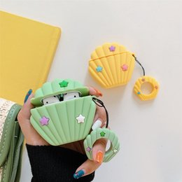earphones cover Australia - Cartoon Fashion Seashell Bluetooth Earphone Case For Apple AirPods Silicone Headphones Cases For Airpods 2 1 Ring Strap Cover