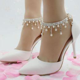 $enCountryForm.capitalKeyWord Australia - Sexy Elegant Beaded Ladies's Single Shoes Leather Pointed Toe Ankle Strap Buckle 9.5cm Stiletto Heel Party Pumps