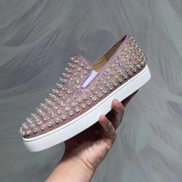 4d28400ec2a9 Pink Glitter Leather With Roller Boat Spikes Sneakers Slip On Red Bottom Oxford  Shoes Men Women Gentleman Party Dress Leisure Flats