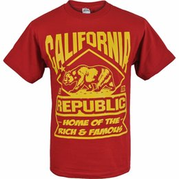 e66c8bf41 Fashion T Shirts Short Sleeve Graphic O - Neck Burgundy California Republic  Home Of The Rich And Famous Shirt Tees For Men