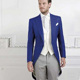$enCountryForm.capitalKeyWord Australia - Tailored Royal Blue Tailcoat Groom Wear For Wedding Party Long Jacket Best Man Blazer Suits Custom Made Only One Piece