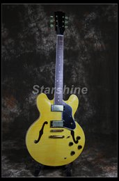 Dots For Guitar Australia - Starshine Semi Hollow Body Electric Guitar CC-HL20 Figured Maple Top&Back Gold Hardware Black Pickguard Dot Inlay