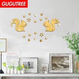 $enCountryForm.capitalKeyWord Australia - Decorate Home 3D squirrel star cartoon mirror art wall sticker decoration Decals mural painting Removable Decor Wallpaper G-323