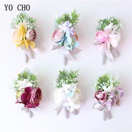 Bridal Brooch Flower UK - YO CHO Corsage and Boutonniere Men Brooch Bridal Wrist Corsages Burgundy Pink Silk Flower Bridesmaid Bracelet Groom Prom Wedding Accessories