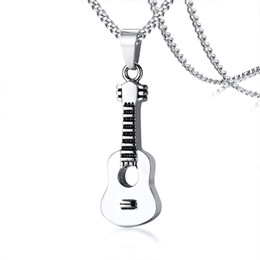 Guitar Fashion Australia - Relodi Stainless Steel Can Open Ashes Box Guitar Pendant Fashion Personality Necklace SP3071