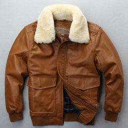 a1895044e8f Avirex fly flight jacket fur collar genuine leather jacket men winter dark  brown sheepskin coat pilot bomber