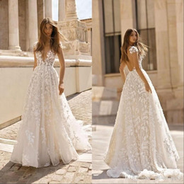 Wholesale deep autumn color skirt for sale – plus size Vintage Bohemian Lace Applique Wedding Dresses Deep V Neck Backless Short Sleeves Bridal Gowns Sweep Train Boho Wedding Gown