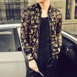 nights costume 2019 - Stylish Print Jacket Men Fashion 2018 Summer New Slim Fit Thin Bomber Jackets Long Sleeve Night Club Gold Singer Costume