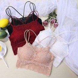 fancy crosses wholesale Australia - Fancy Lace Crop Top Lingerie Women Fashion Floral Lace Padded Bra Crossing Strap Tank Top BraleLadies Camisole 2019