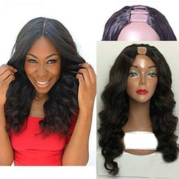 More Bangs NZ - Soft Virgin Brazilian U Part Human Hair Wig Loose Wave Glueless Human Hair Side Middle Upart Wig with Bangs for Black Women