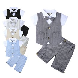 Short Sleeve veStS for kidS online shopping - Boy gentlmen Suit Clothes Suits For Wedding Formal Party Striped botton short sleeves top with bow tie short Pants Kids Clothing Set M160
