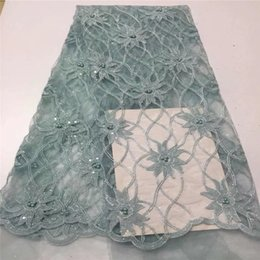 $enCountryForm.capitalKeyWord Australia - Design Sequined Mesh Lace Fabric green African Indian Guipure Net Laces 2019 beads Nigerian Style Wedding Dress Sequins Fabrics