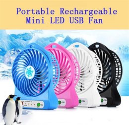 laptop cooling NZ - Top Sell Rechargeable LED Light Fan Air Cooler Mini Desk USB 18650 Battery Rechargeable Fan With Retail Package for PC Laptop Computer