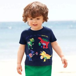Plaid Tee Kids Australia - INS Summer Designer Baby Kids Girls Tees Embroidery 100% Cotton Boys Girls Tops Dragon Embroidery Stripes Car Girls Short Sleeve T-shirts