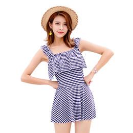 one piece swim dresses 2019 - Women Plaid Swimsuit Dress Lady One Piece Swimwear Beach Bathing One Piece Swimming Dress For Women LJJR430 cheap one pi