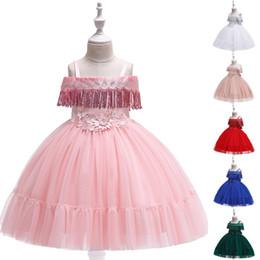 Sequined Tutu Australia - Princess Flower Girl Dress Sequined Tassel Wedding Birthday Perform Party Tutu Gown Children Kids Clothes
