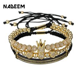 Pave Clasps Australia - 3Pcs Set Couple CZ Crown Bracelet Sets For Men Gold Pave Cubic Micro Charm Women Luxury Braided Bracelet Sets Pulseira Bileklik