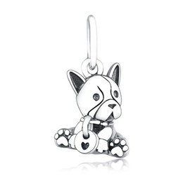 sterling silver french Australia - New Authentic 925 Sterling Silver Charm Black Enamel French Bulldog Puppy Pendant Bead Fit Pandora Bracelet Bangle Diy Jewelry