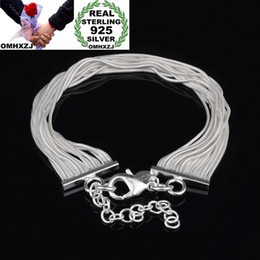 $enCountryForm.capitalKeyWord Australia - OMHXZJ Wholesale Personality Fashion Woman Girl Party Wedding Gift Silver Multi Lines Chain 925 Sterling Silver Bracelet BR60