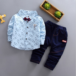 Discount new fashion shirt girl white - 2019 New Spring Children Boys Girls Cartoon Lapel Bow Shirt Pants 2Pcs Sets Infant Clothes Suit Fashion Baby Casual Trac