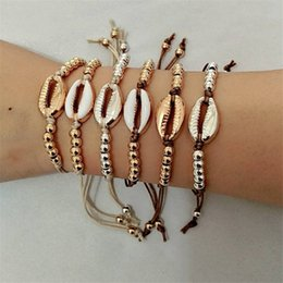 $enCountryForm.capitalKeyWord Australia - New Fashion Bohemian Style Silver Gold Color Shell Bracelet For Women Leather Rope Beads Chain Bracelet Mix Colors