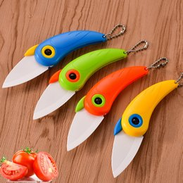 $enCountryForm.capitalKeyWord NZ - Portable Folding Parrot Ceramic Knife Paring Fruit Knife Vegetable Utility Slicer For Outdoor Kitchen Chef Knives Peeler Cooking Set