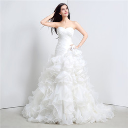 Wholesale tube tops wedding dresses resale online - 2020 New Arrivals Tube Top Wedding Dresses White Augen Head Fishtail Towel Lace Sweet Sweater Church Dresses
