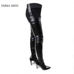 ba84b7dd88dc 2019 Black Waist Belt Over Knee Boots Women Sexy Pointed Toe Thigh High  Long Boots Spring Autumn Fashion Thin Heels Shoes Woman