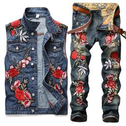 $enCountryForm.capitalKeyWord Australia - 2 Pieces Sets (Vest+Pant) Motorcycle Hip Hop Men Famous Brand Embroidery Floral Hole Distressed Denim Vests And Pants Twinsets