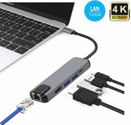 $enCountryForm.capitalKeyWord NZ - 5 in 1 USB Type C Hub Hdmi 4K USB C Hub to Gigabit Ethernet Rj45 Lan Adapter for Macbook Pro Thunderbolt 3 USB-C Charger Port