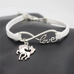 $enCountryForm.capitalKeyWord NZ - Punk White Leather Suede Charm Bracelets & Bangles Braided Rope Infinity Love Unicorn Dancing Horse Wristband Women Men Jewelry Vintage Gift