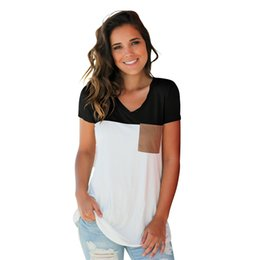 Womens Pocket Tees Australia - 2019 DHL Womens Summer Basic V Neck T Shirts Short Sleeve Blouse Tops Casual Tees with Suede Pocket S-XXL