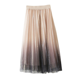 яркие юбки  оптовых-Jaycosin skirt high waist ladies sexy reflective mesh skirt in the long paragraph A word bright silk pleated cocktail