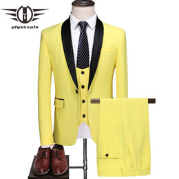 $enCountryForm.capitalKeyWord Australia - Elegant Yellow Wedding Suit Men 5XL Plus Size Man Suit Slim Fit Costume Mariage Homme Classic 3 Pcs Stage Prom Party Dress Q710