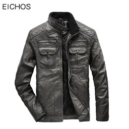 vintage motorcycle jackets NZ - EICHOS Men Leather Jacket Motorcycle Biker Style Mens Faux Coats Casual Winter Thick Wash Vintage PU Leather Jackets US Size