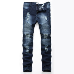 3959a872d54e4d Cowboys Pants UK - hole embroidered jeans Slim men trousers NEW men s  Casual Thin Summer Denim