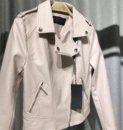 Coat Pu Zipper Australia - Pink and Black PU Leather Jacket Coats Fashionable Sexy Lady Short Slim Jackets Lapel Zipper Street Fashion Pu Locomotive Jacket