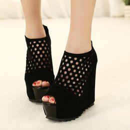 flock dress NZ - Gdgydh Zipper Platform Wedges Shoes For Women Flock Spring Ladies Party Shoes Fashion Summer Peep Toe Pumps Women Hollow Out t01