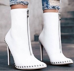 9d6f07327d9e8 PU Leather Rivet Pointed Toe Front Zipper Metal Rivet Fashion Boots Black  High Thin Heels Autumn Winter Women Ankle Boots
