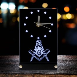 $enCountryForm.capitalKeyWord NZ - Masonic Mason Freemason Electronic Table Clock Masonic Signs Square & Compass Freemason Logo Desk Clock Watch With LED Backlight