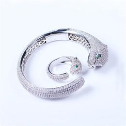 $enCountryForm.capitalKeyWord NZ - Hot Sales Green Eyes Animals Bracelets Rings Designer Luxury Cheetah Rings Bangles Sets Quality Fashion Fine Wedding Jewelry Set Lover Gift